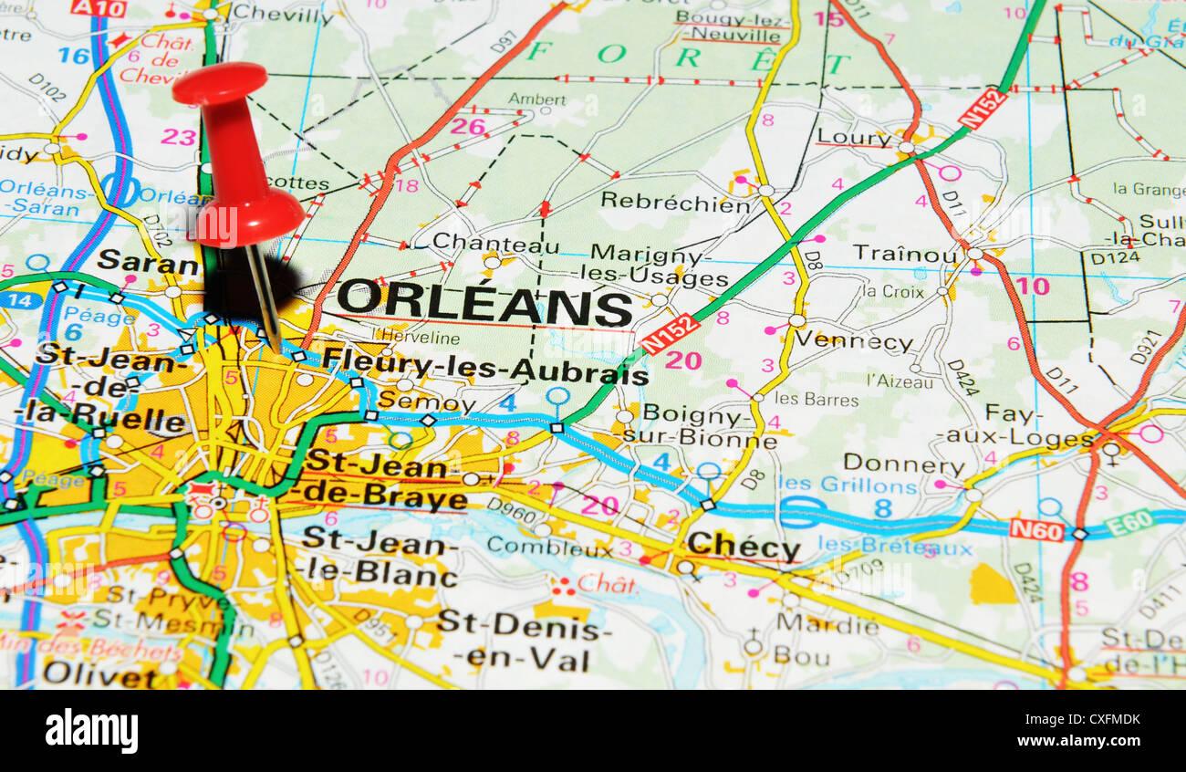 Orleans France Sur La Carte Photo Stock Alamy