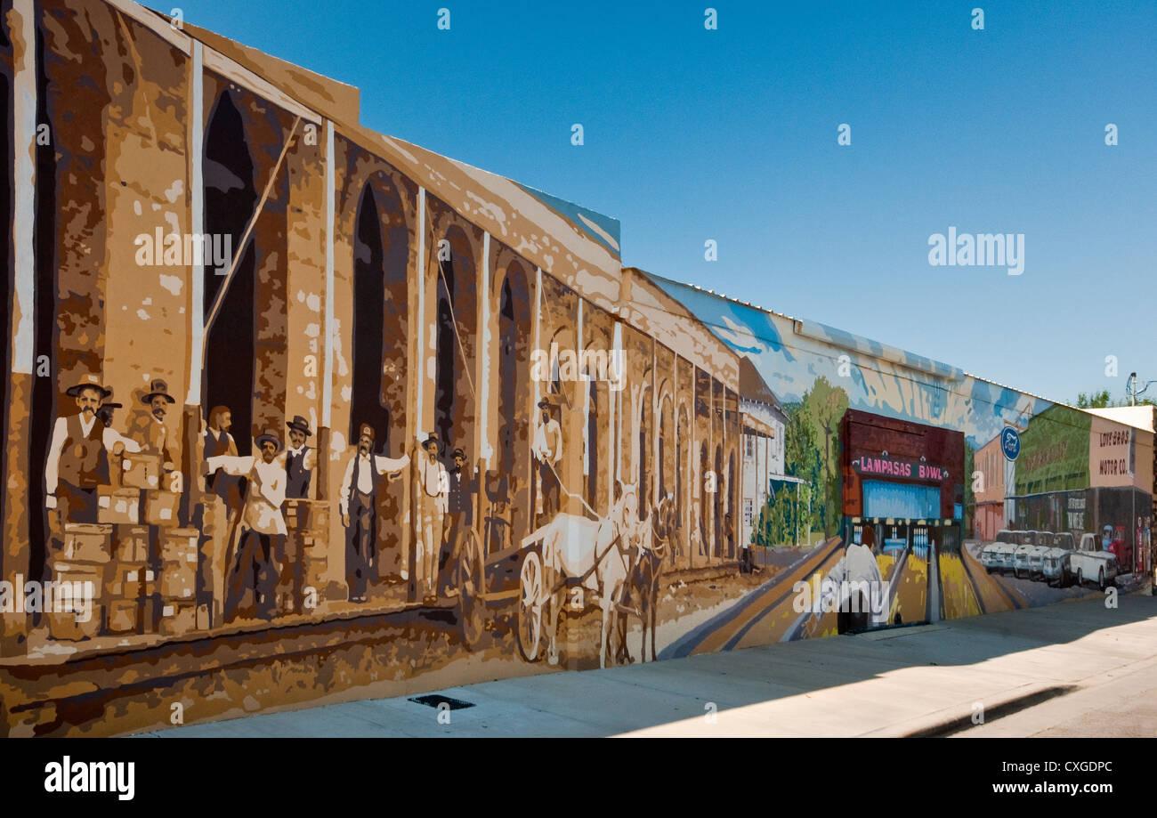 La 2e Rue à fresque des générations à Lampasas, Texas, États-Unis Photo Stock