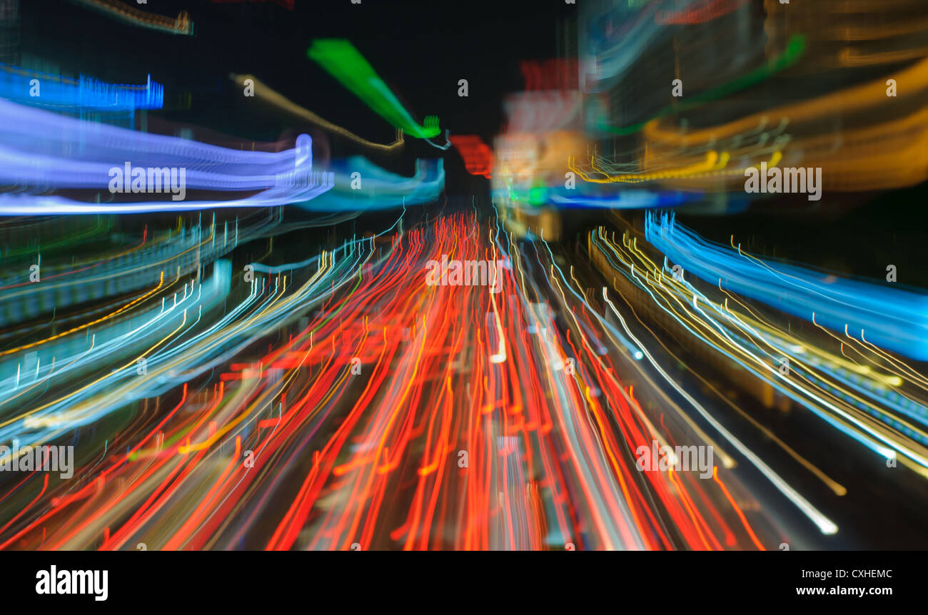 Feux de circulation dans le motion blur Photo Stock