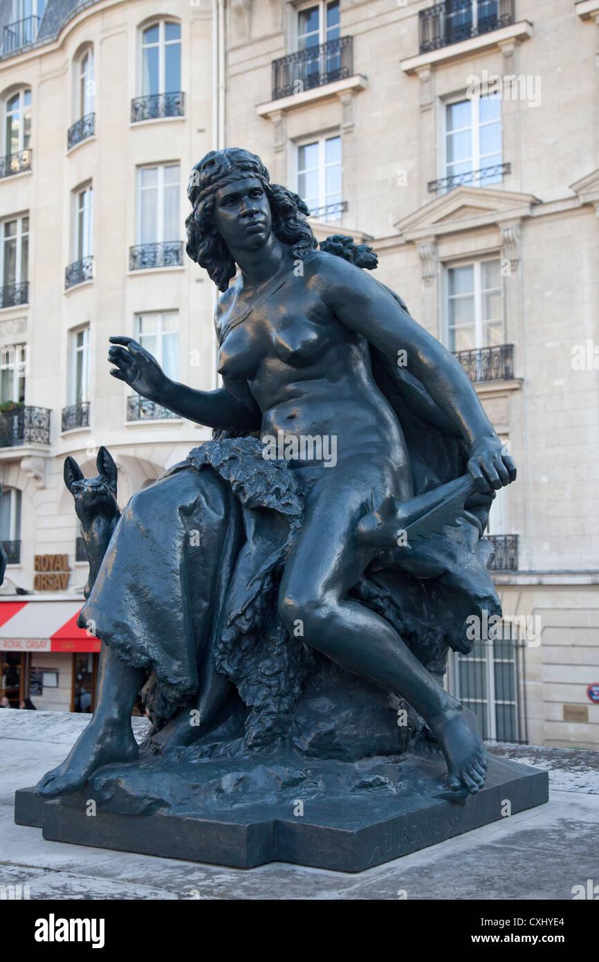 Océanie, statue par le sculpteur français Mathurin Moreau (1822-1912) représentant de l'Australasie, Photo Stock