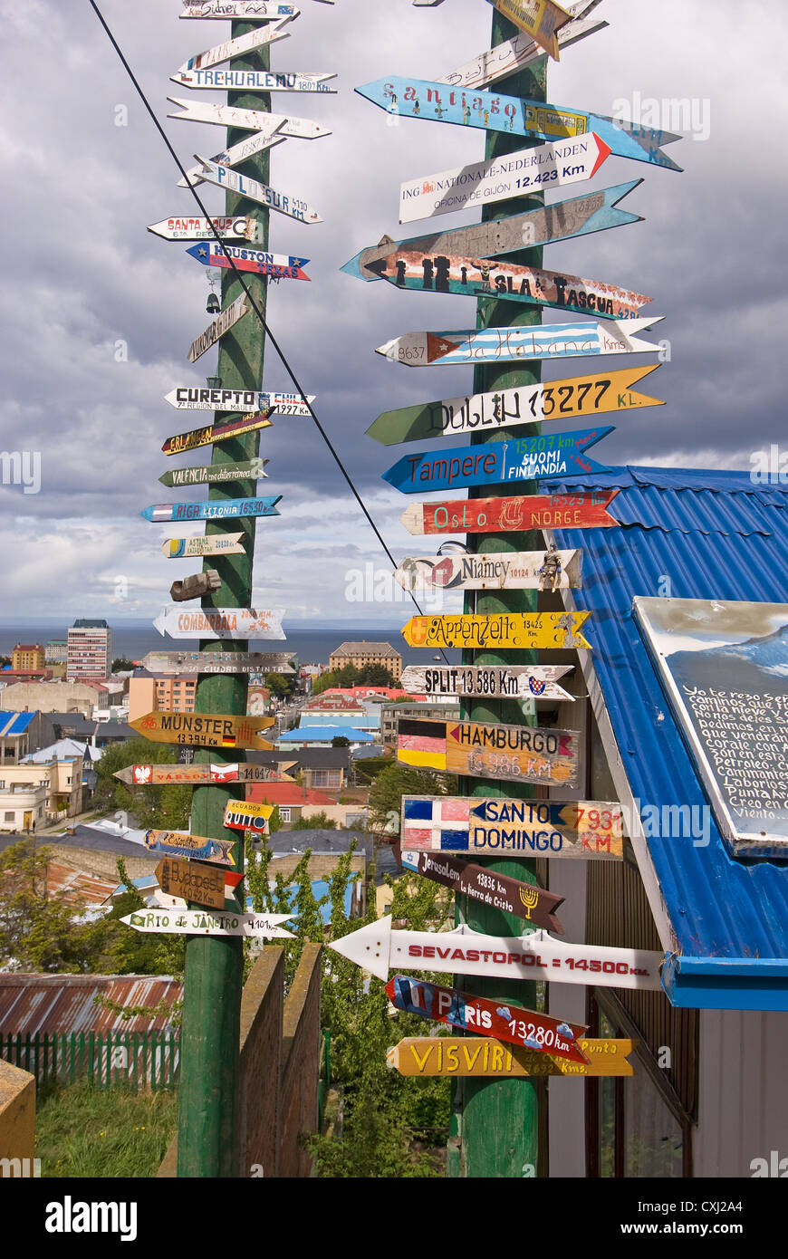 Elk198-4092v Chili, Patagonie, Punta Arenas, café Mirador, signes de distance Photo Stock