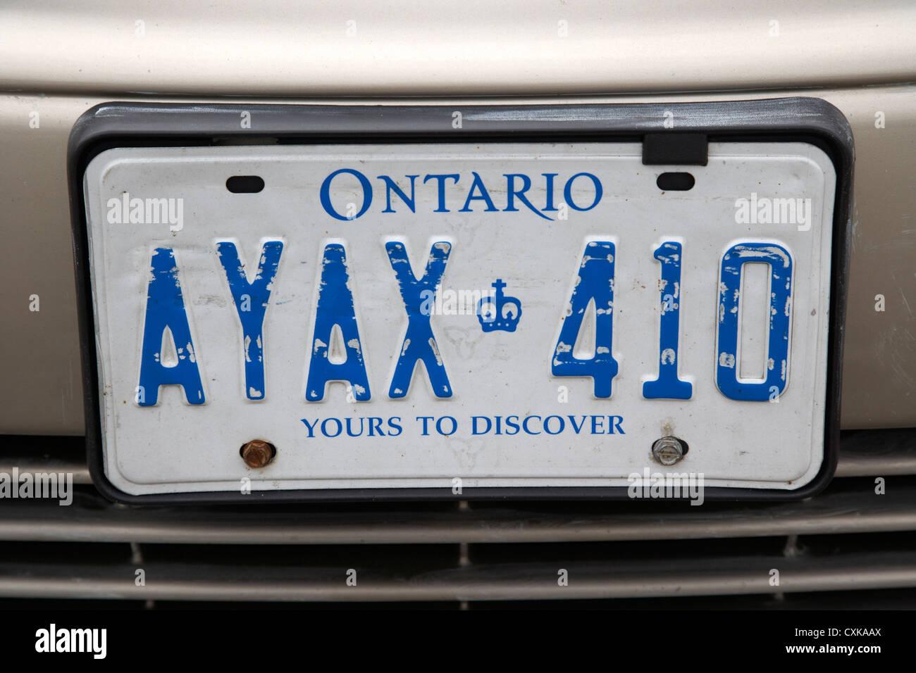 L'Ontario, tant à découvrir le Canada de la plaque d'immatriculation Photo Stock