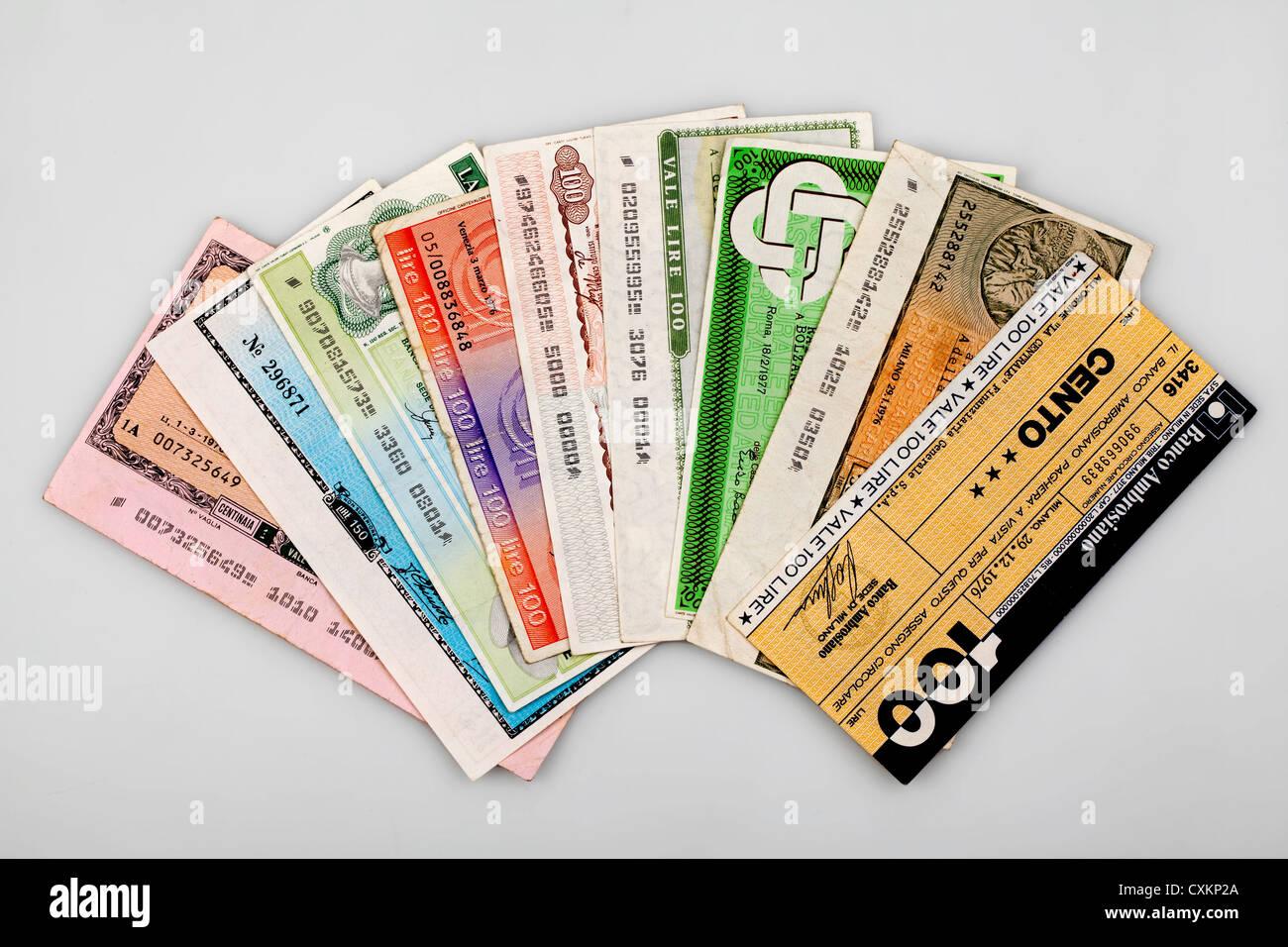 Miniassegni Italien, virement bancaire, mandat avec une valeur faible, il Banco Ambrosiano, Mailand Photo Stock