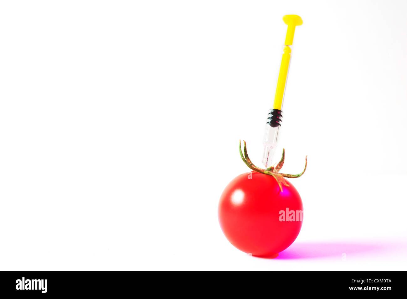 Les aliments génétiquement modifiés. une aiguille injecte une tomate fraîche Photo Stock