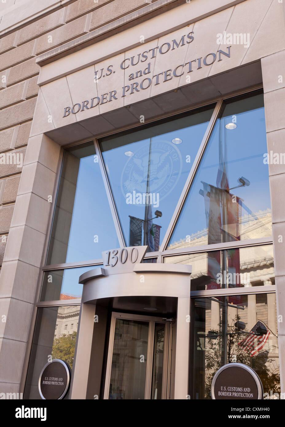 L'US Customs and Border Protection entrée de l'édifice sign - Washington, DC USA Photo Stock