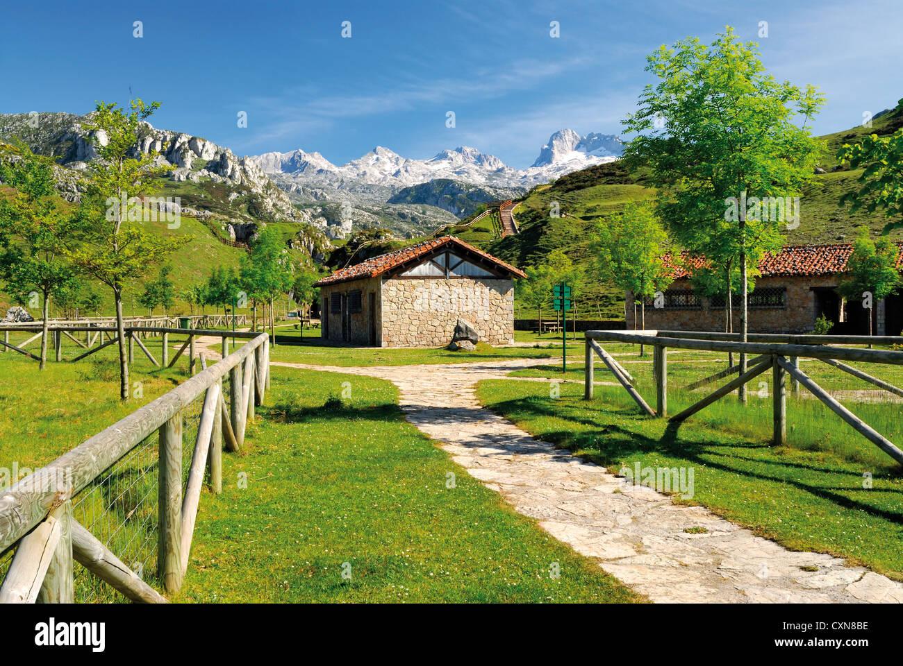 L'Espagne, Asturies: sur la montagne dans le Parc National Picos de Europa Photo Stock