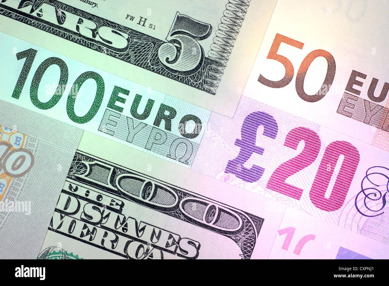 Melange De Dollar Us Euro Et De La Livre Sterling Projets