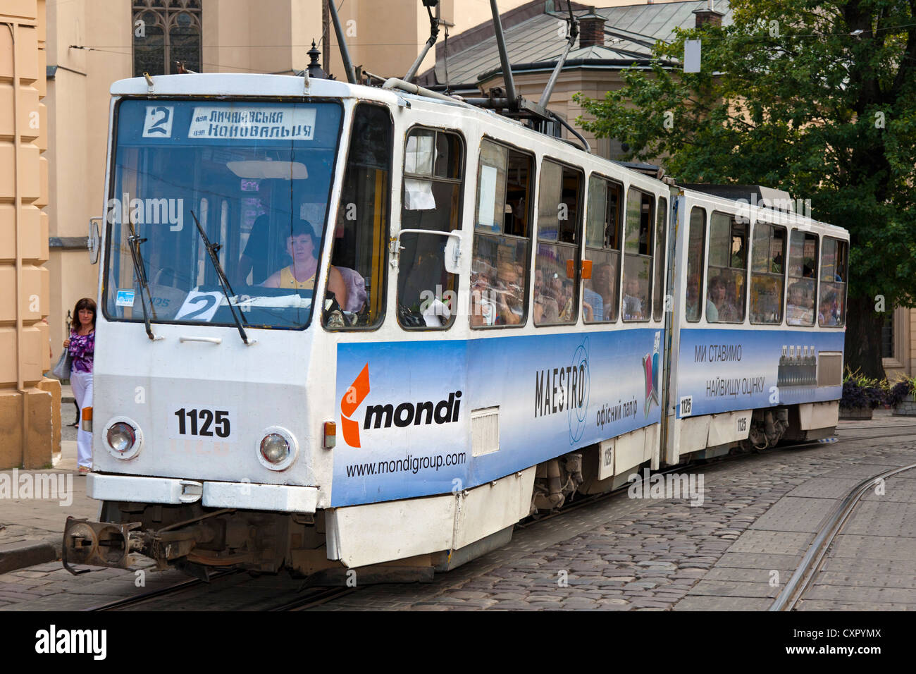 Centre-ville en tramway, L'viv, Ukraine Photo Stock