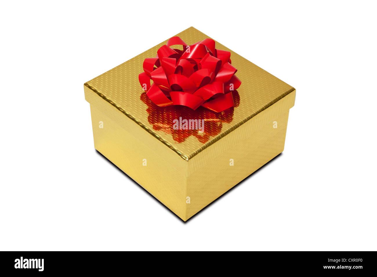 Boîte cadeau doré avec red bow Photo Stock