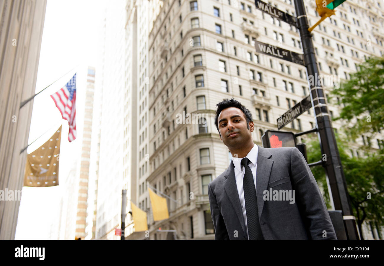 Businessman on Wall Street, New York City Photo Stock