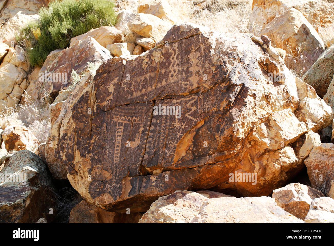 Parowan Gap pétroglyphes, art rock, Utah, USA Banque D'Images