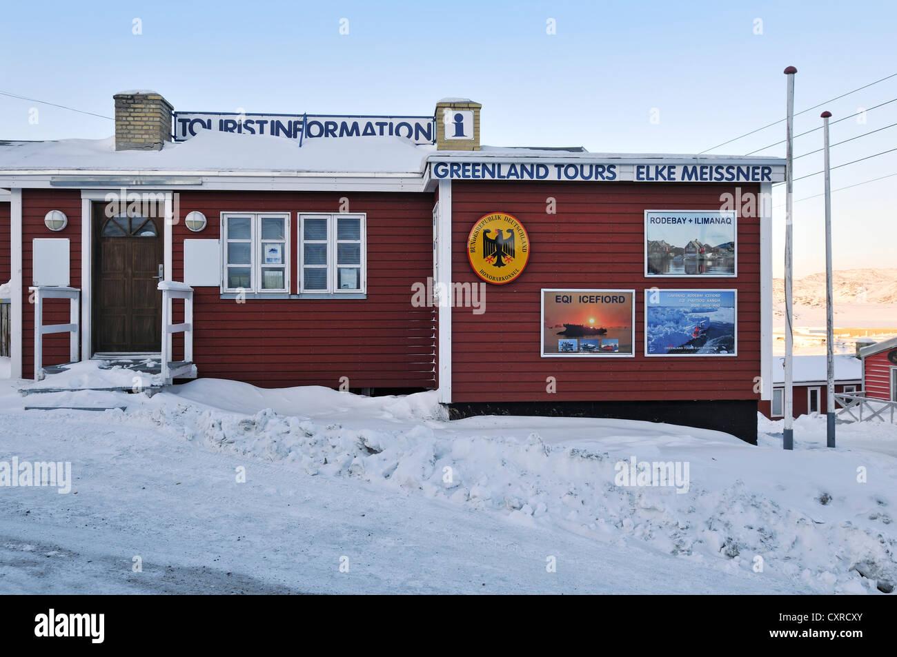 L'agence de voyage de Elke Meissner et consulat honoraire, Ilulissat, Groenland, l'Arctique nord-américain Photo Stock