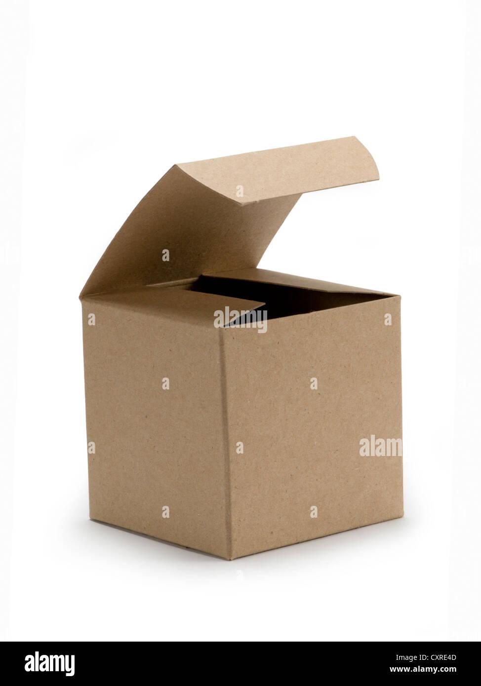 Boîte de carton blanc sur Photo Stock