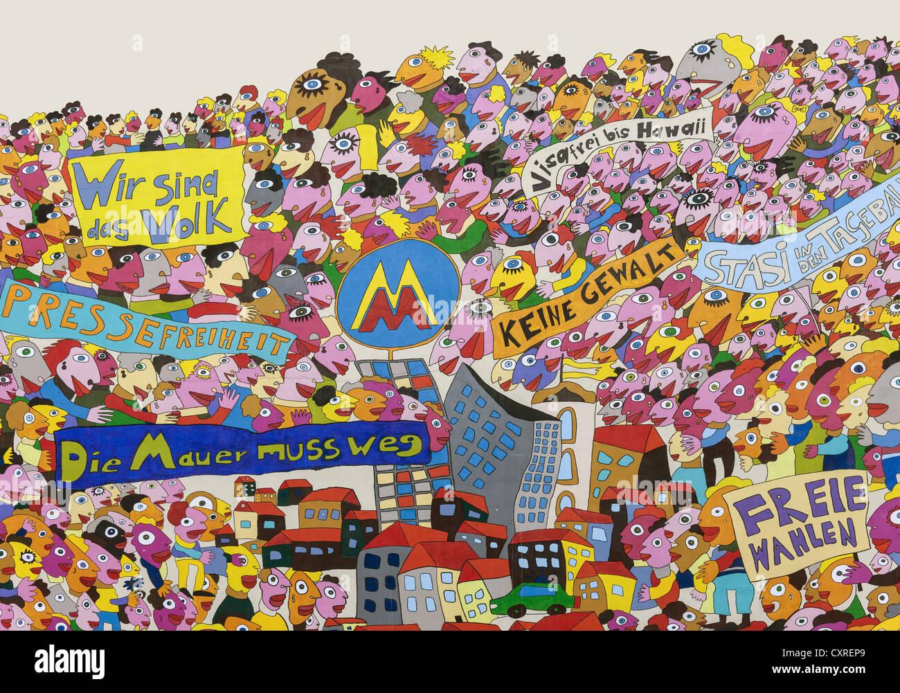 Peinture murale sur l'hôtel Marriott, l'art moderne, souvenirs de la révolution pacifique en 1989, Photo Stock