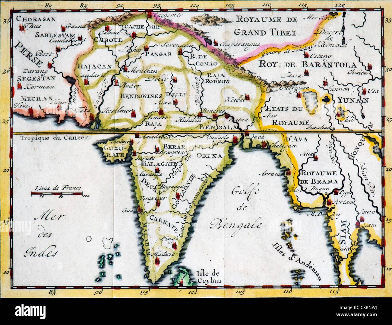 Carte Du Sud Est De Linde.Contexte Historique A La Main La Carte La Gravure L Inde Et En