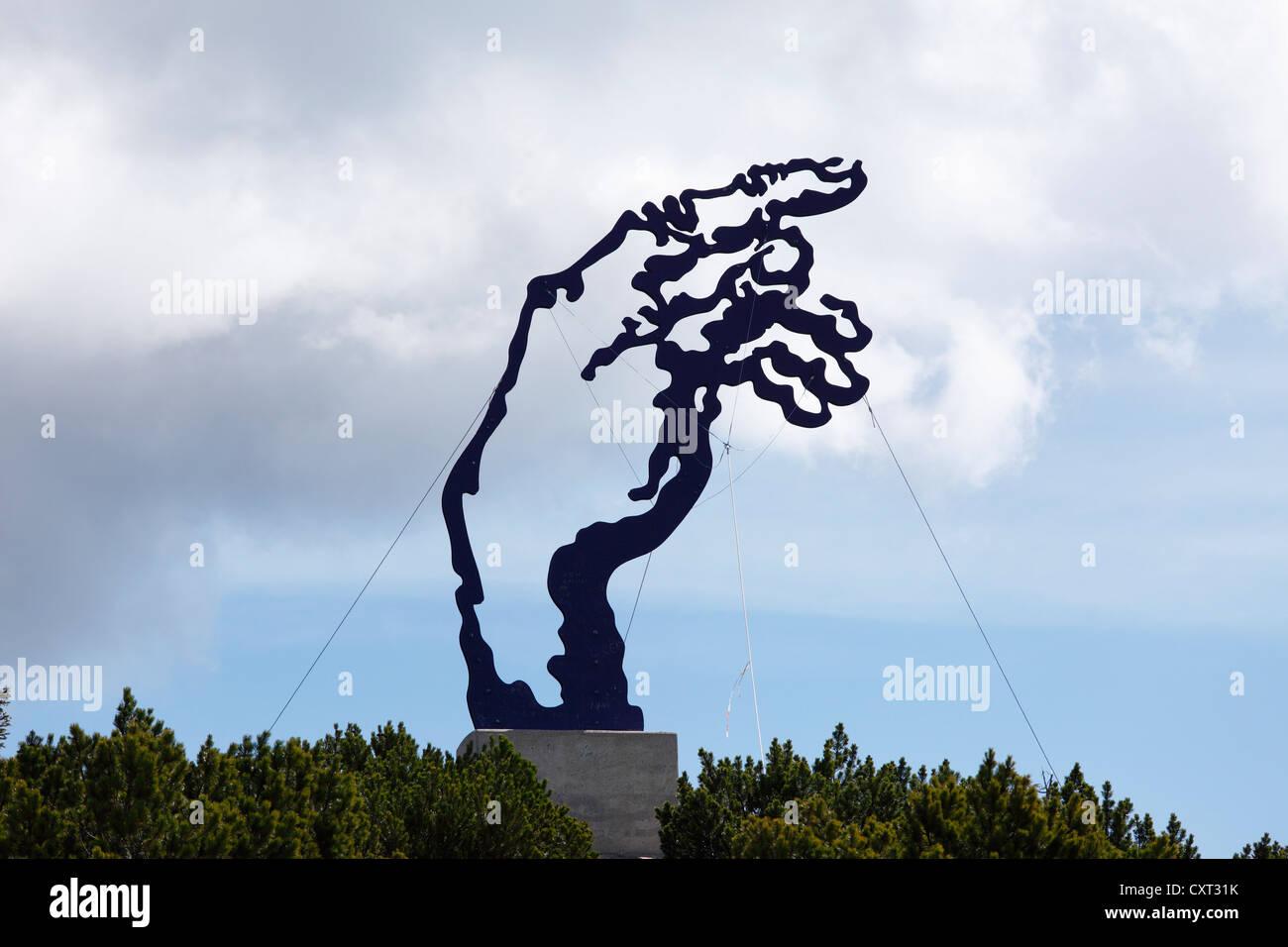 Sculpture 'la main d'Adam' par Walter Angerer le Jeune, Mt Rauschberg, Alpes de Chiemgau, Chiemgau, Photo Stock