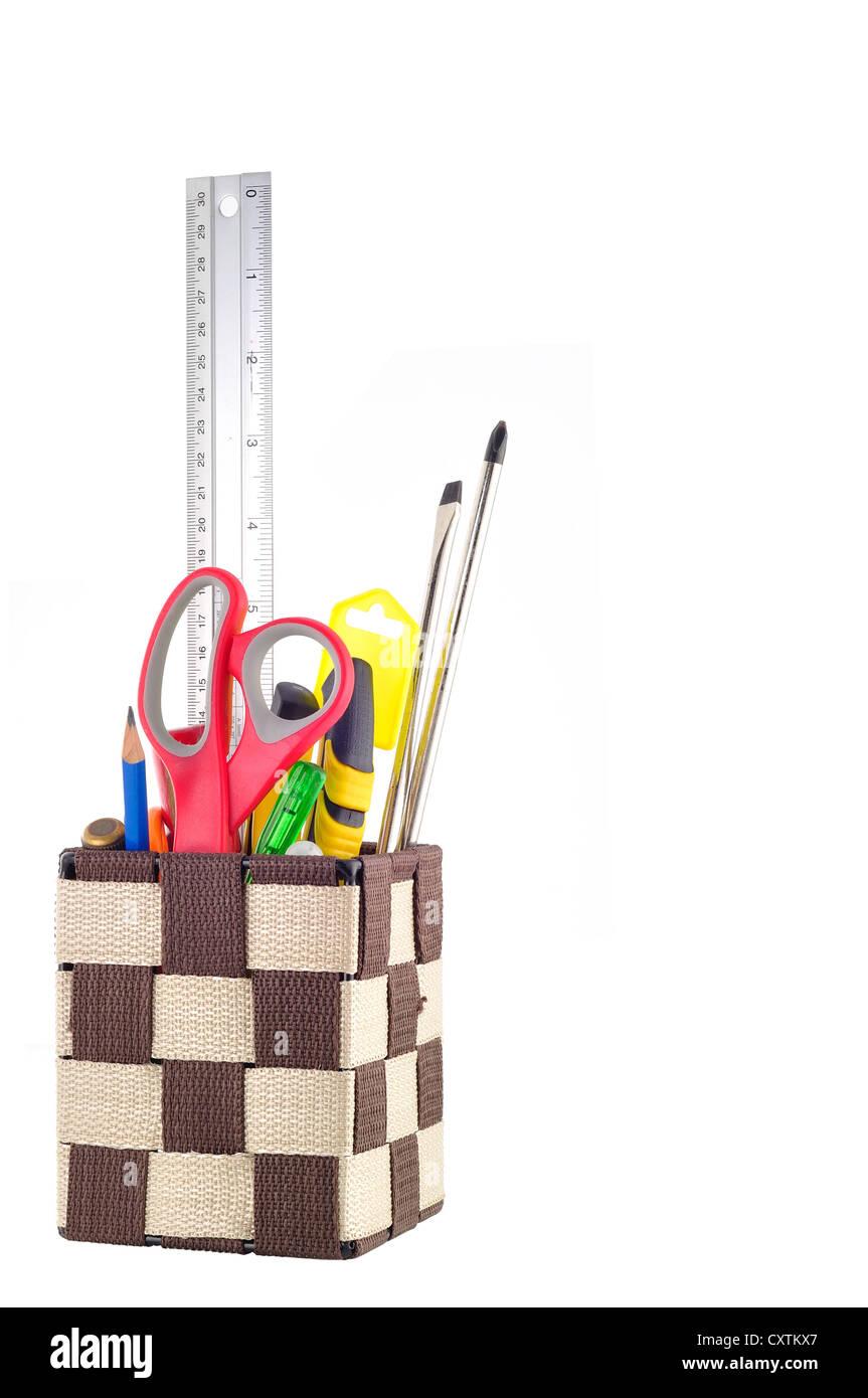 Fort de la papeterie et des outils isolés Photo Stock