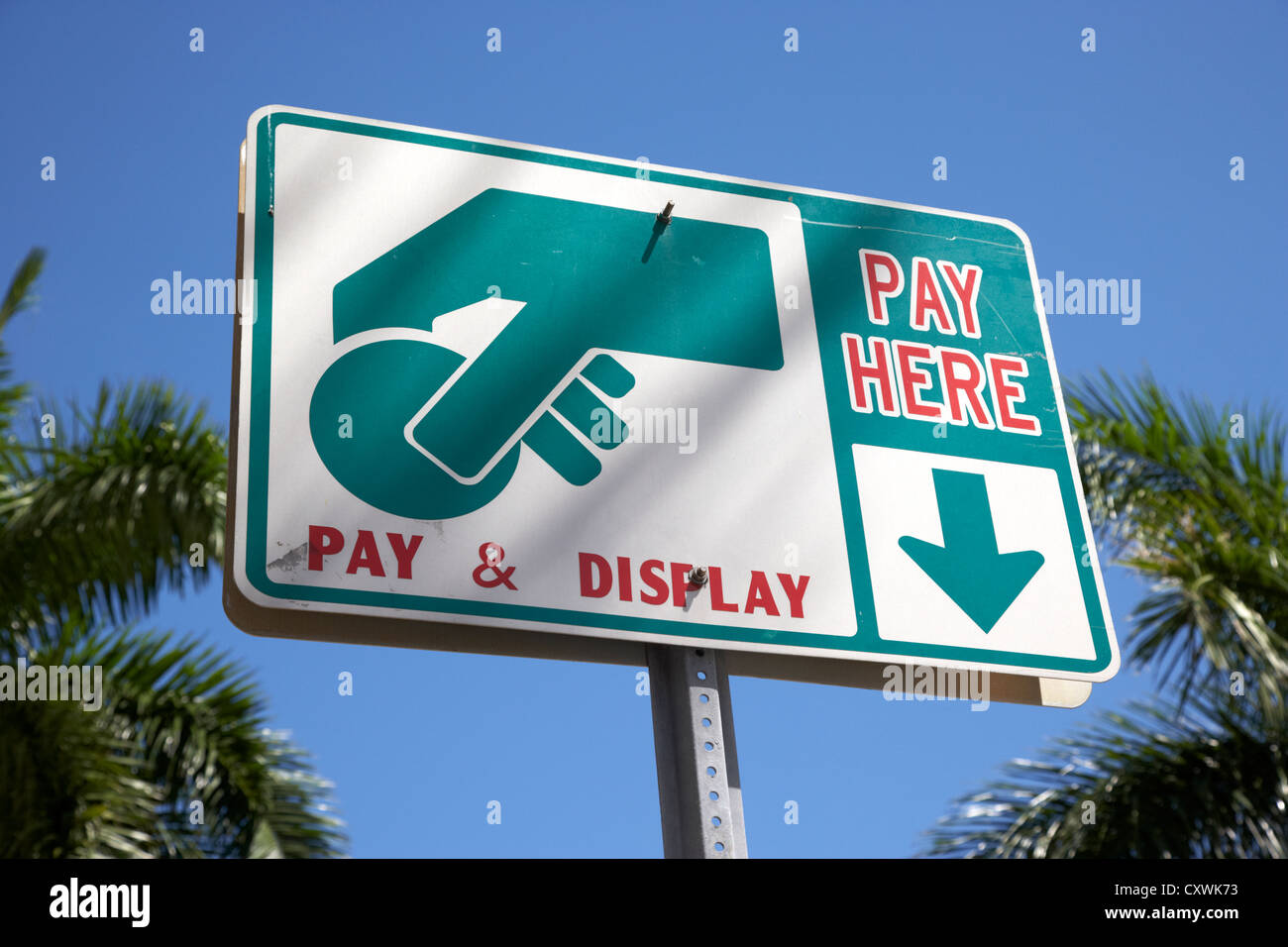 Payez et affichez Payez ici sign in Miami South beach floride usa Photo Stock