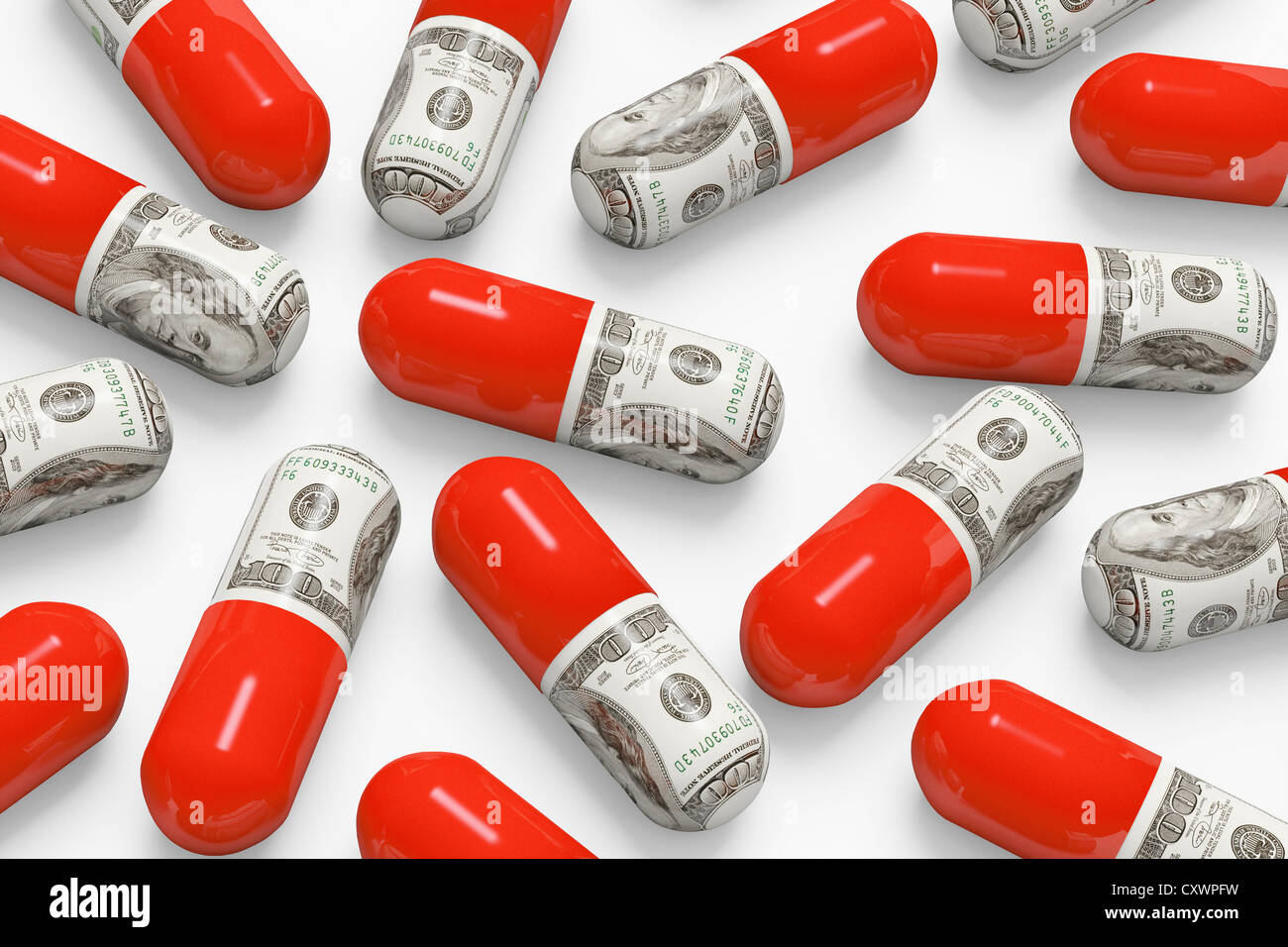 Décorées avec des pilules dollar bills Photo Stock