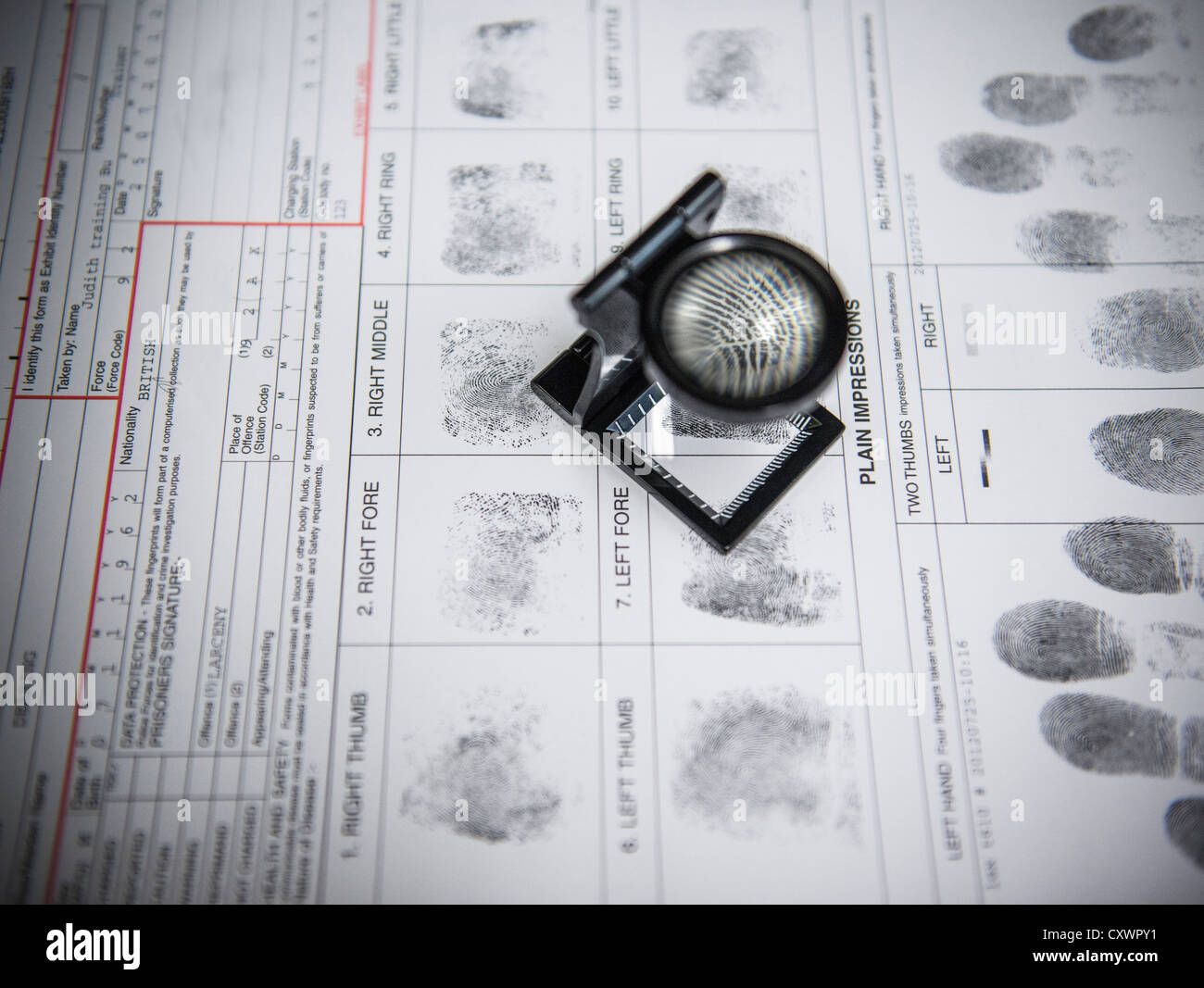 Loupe sur des empreintes digitales sur la forme d'arrestation Photo Stock
