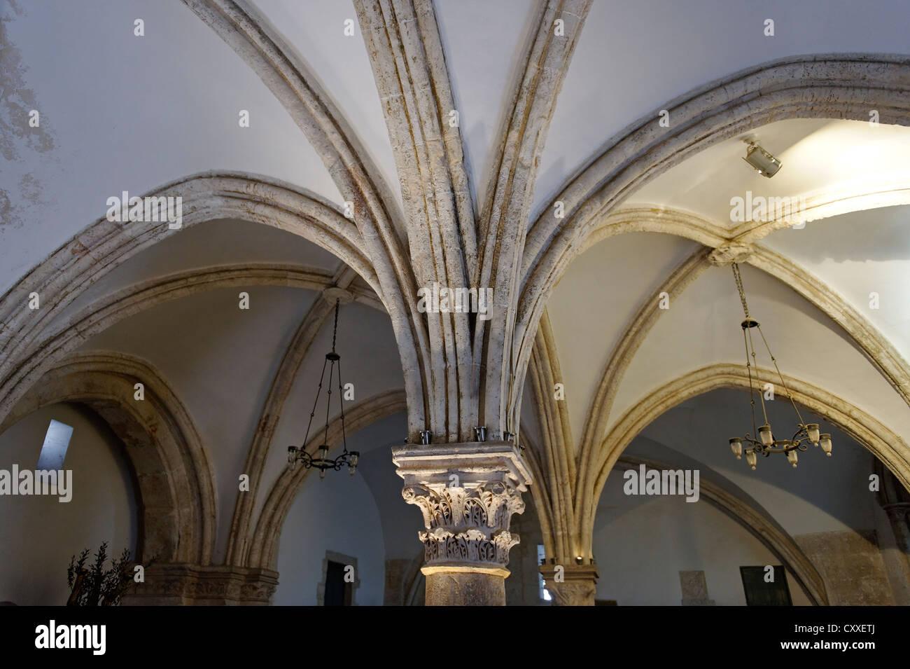 Voûtes de la Dernière Cène Hall, le Mont Sion, Jérusalem, Israël, Moyen Orient Photo Stock