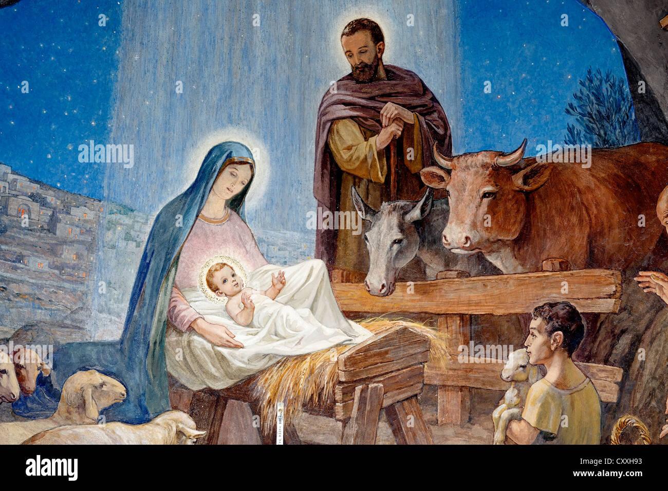 Naissance de Jésus, fresque, Der es-Siar Chapelle, champs des bergers, religieux lieu de la Night Watch, Beit Photo Stock