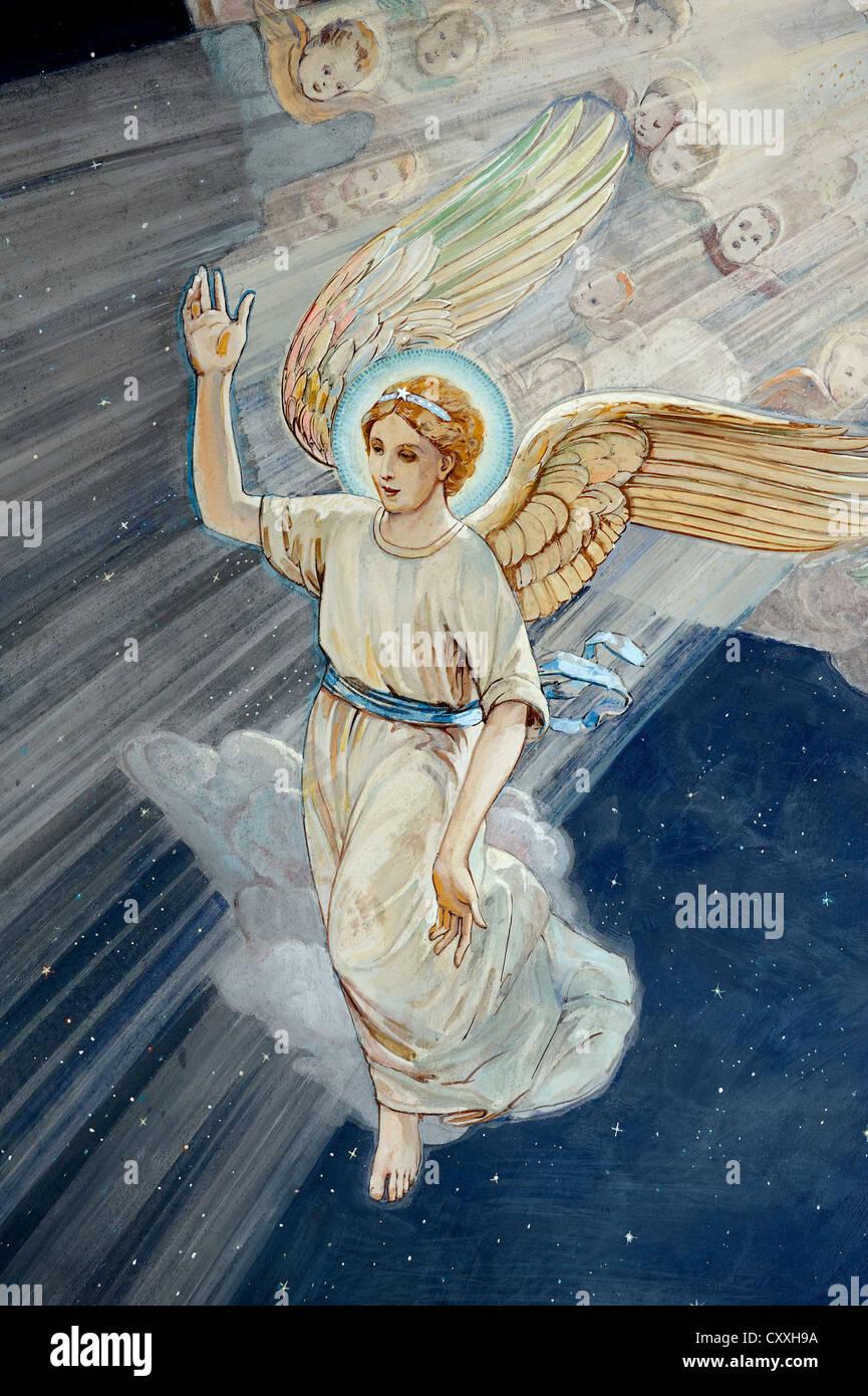 Annonce de l'ange aux bergers, fresco, Der es-Siar Chapelle, champs des bergers, religieux lieu de la Night Photo Stock