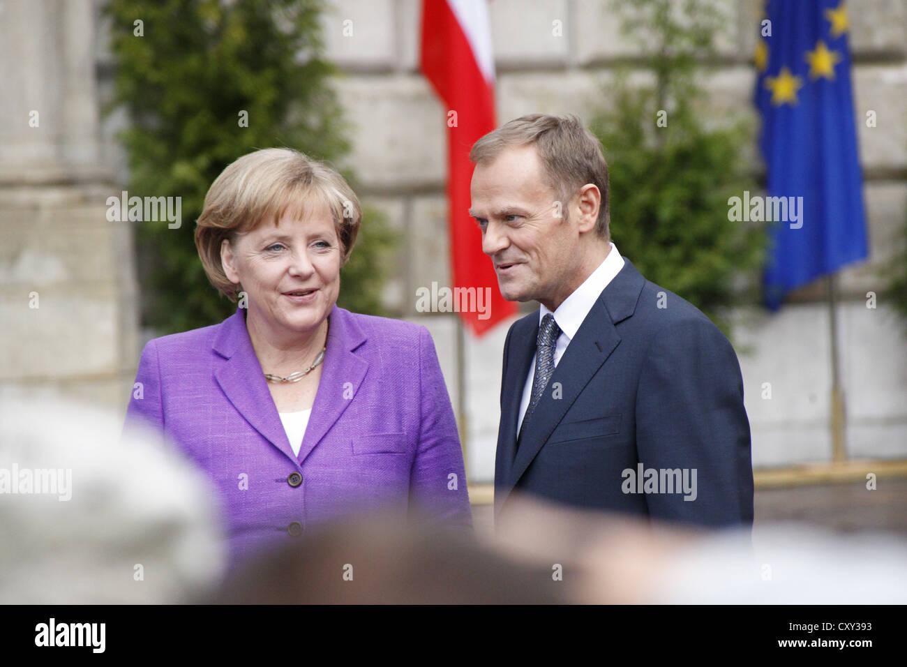 Angela Merkel et Donald Tusk, au cours du 20ème anniversaire de la chute du communisme, 04/06/2009, à Photo Stock