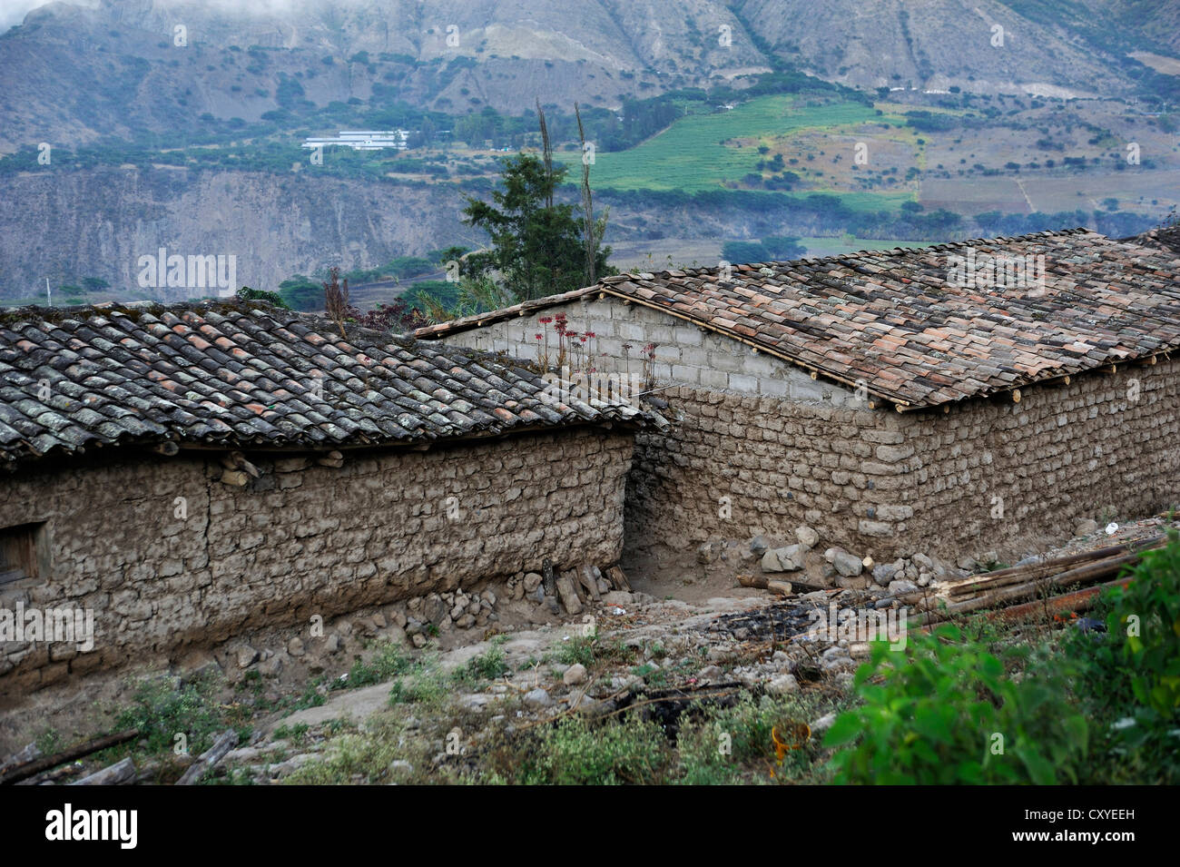 Maisons dans un style architectural traditionnel, briques d'adobe, African-Ecuadorian communauté de la Photo Stock