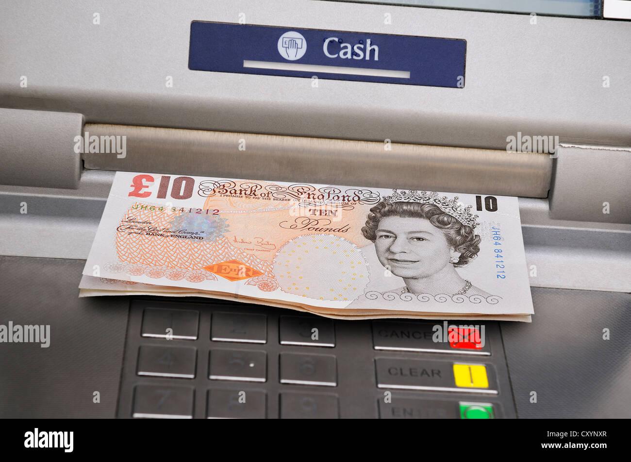 Distribue de l'argent distributeur, au Royaume-Uni. Banque D'Images