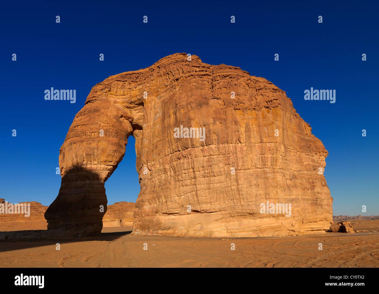 Roche de l'éléphant dans la région de Madain Saleh Site archéologique, l'Arabie Saoudite Photo Stock