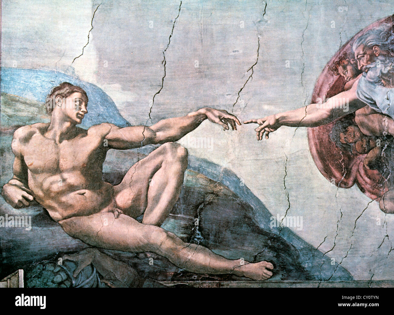 Dieu crée Adam, Chapelle Sixtine, le Vatican, Michaelangelo, fresque, 1508-11 Photo Stock