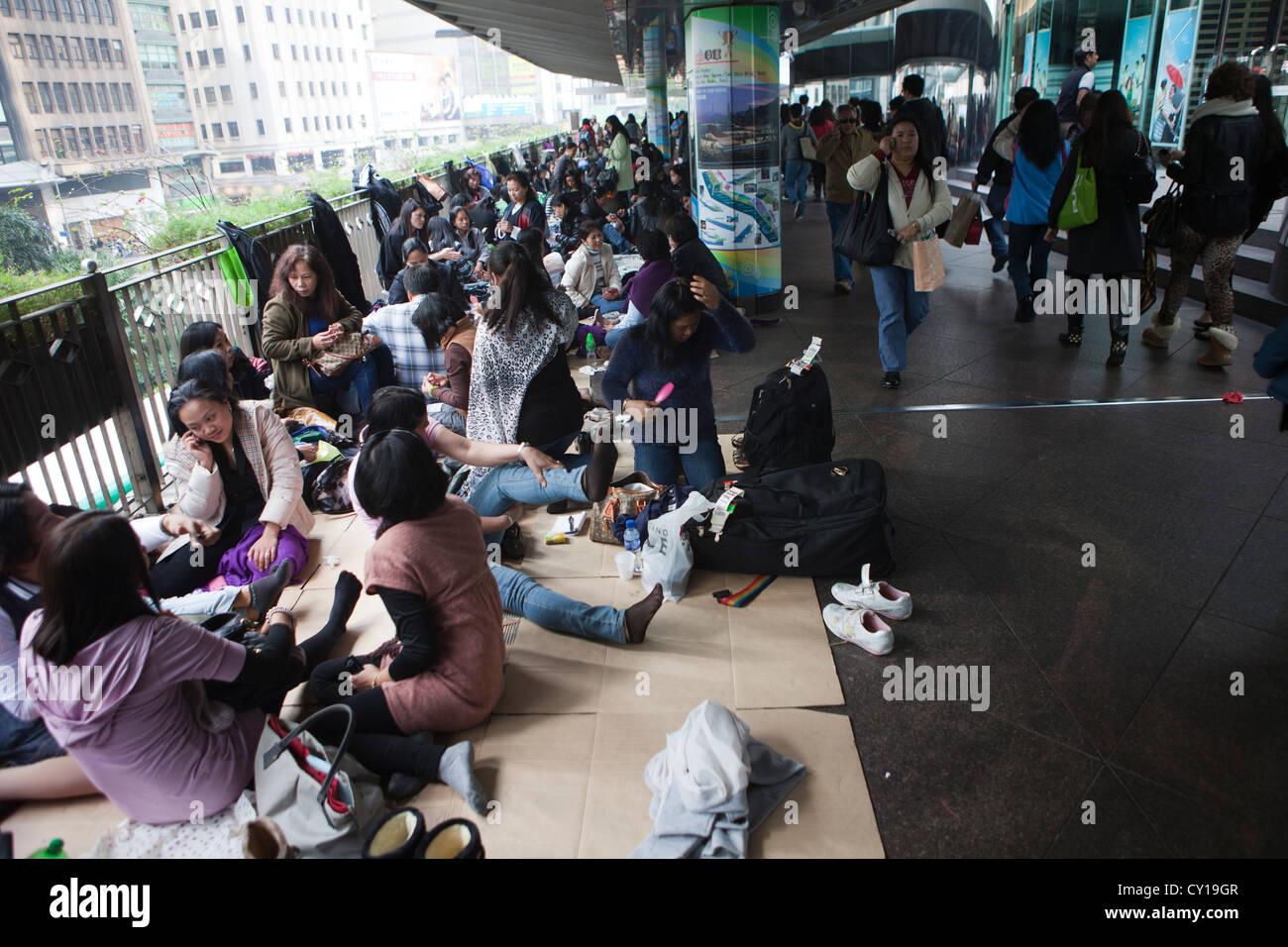 Les gens au centre-ville de Hongkong Photo Stock