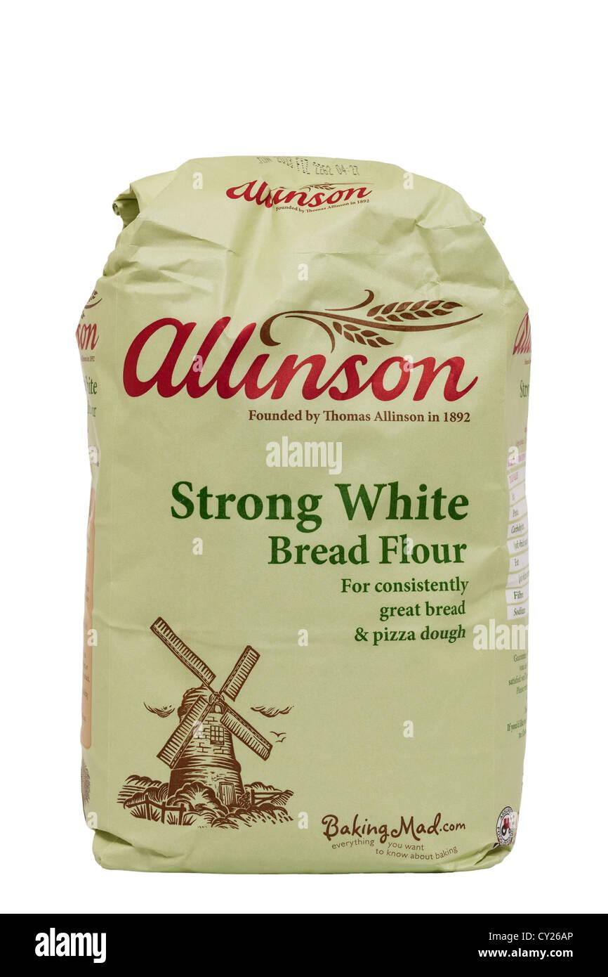 Un sac de farine à pain blanc solide allinson sur fond blanc Photo Stock