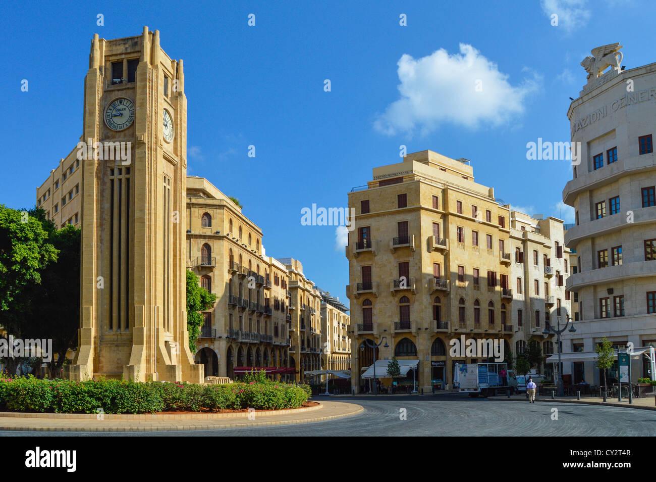 Tour de l'horloge, Ottoman Nejme Square, centre-ville de Beyrouth, Liban, Moyen-Orient Photo Stock
