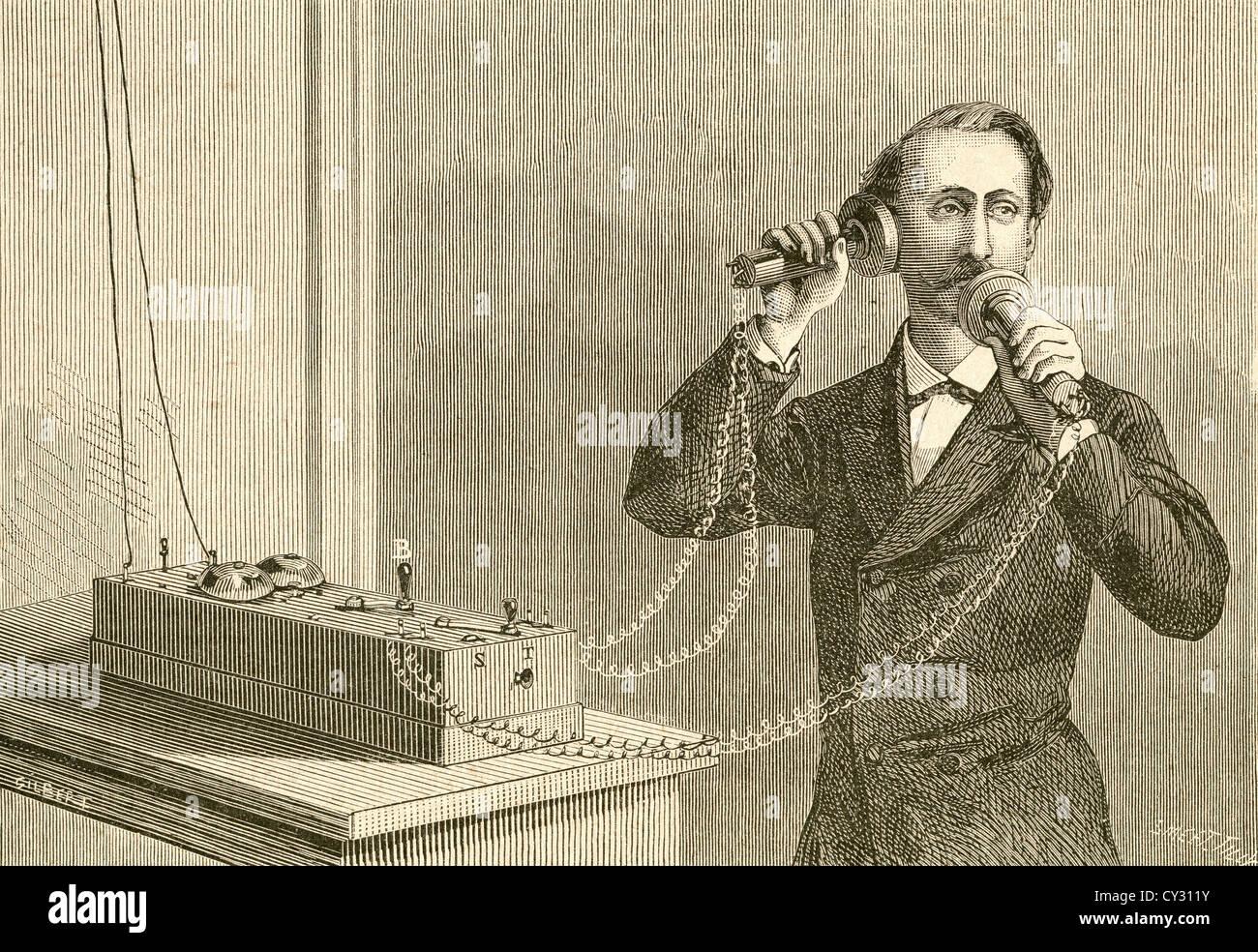Un téléphone. Fin du xixe siècle. Photo Stock