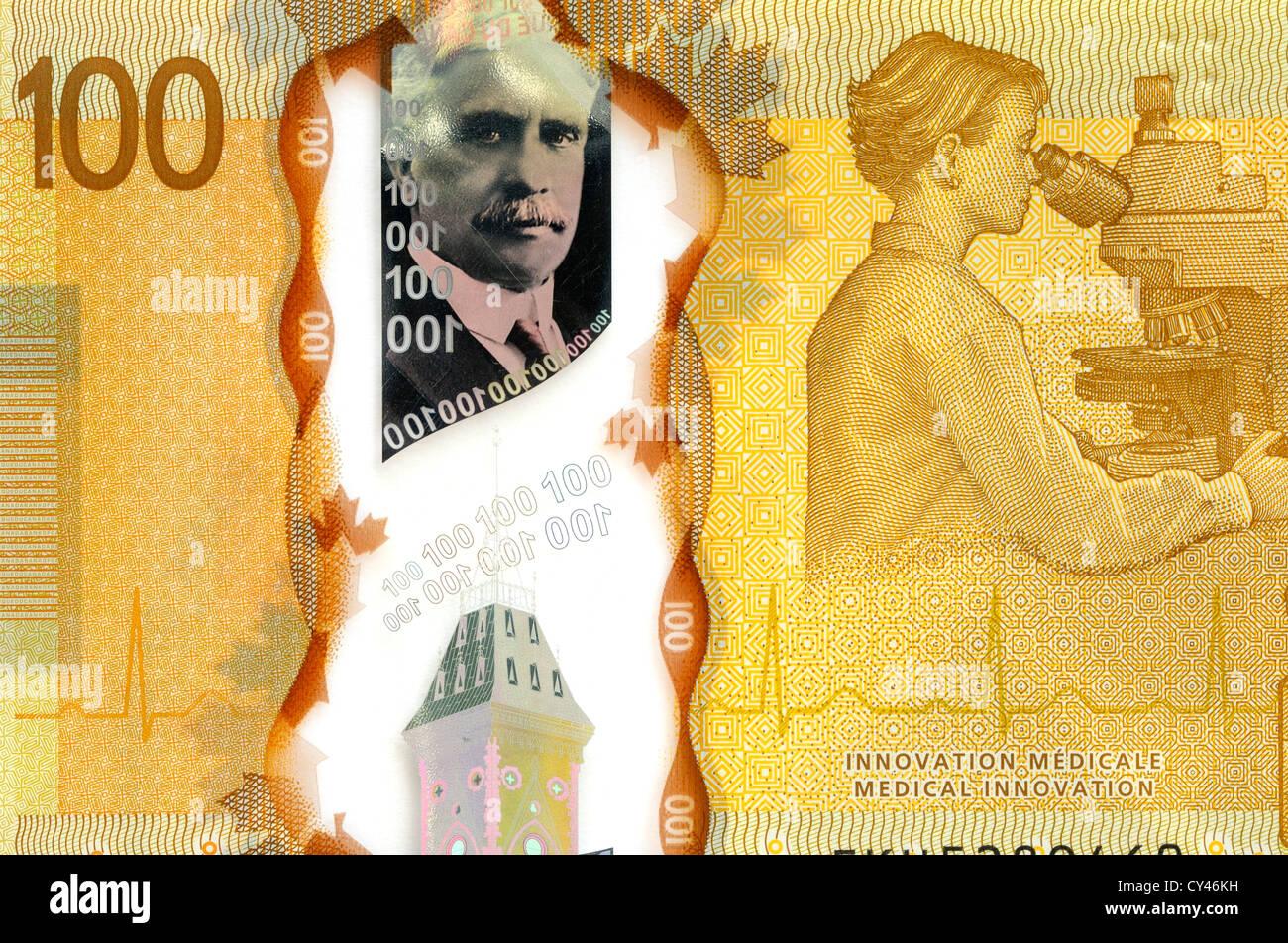 Canada 100 100 dollar Bank Note. Photo Stock