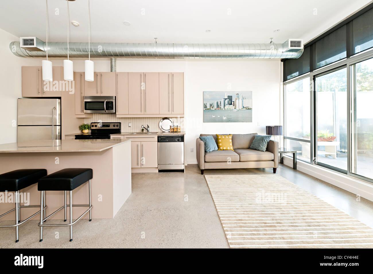 Cuisine et salon d'appartement loft - œuvre de photographe portfolio Photo Stock
