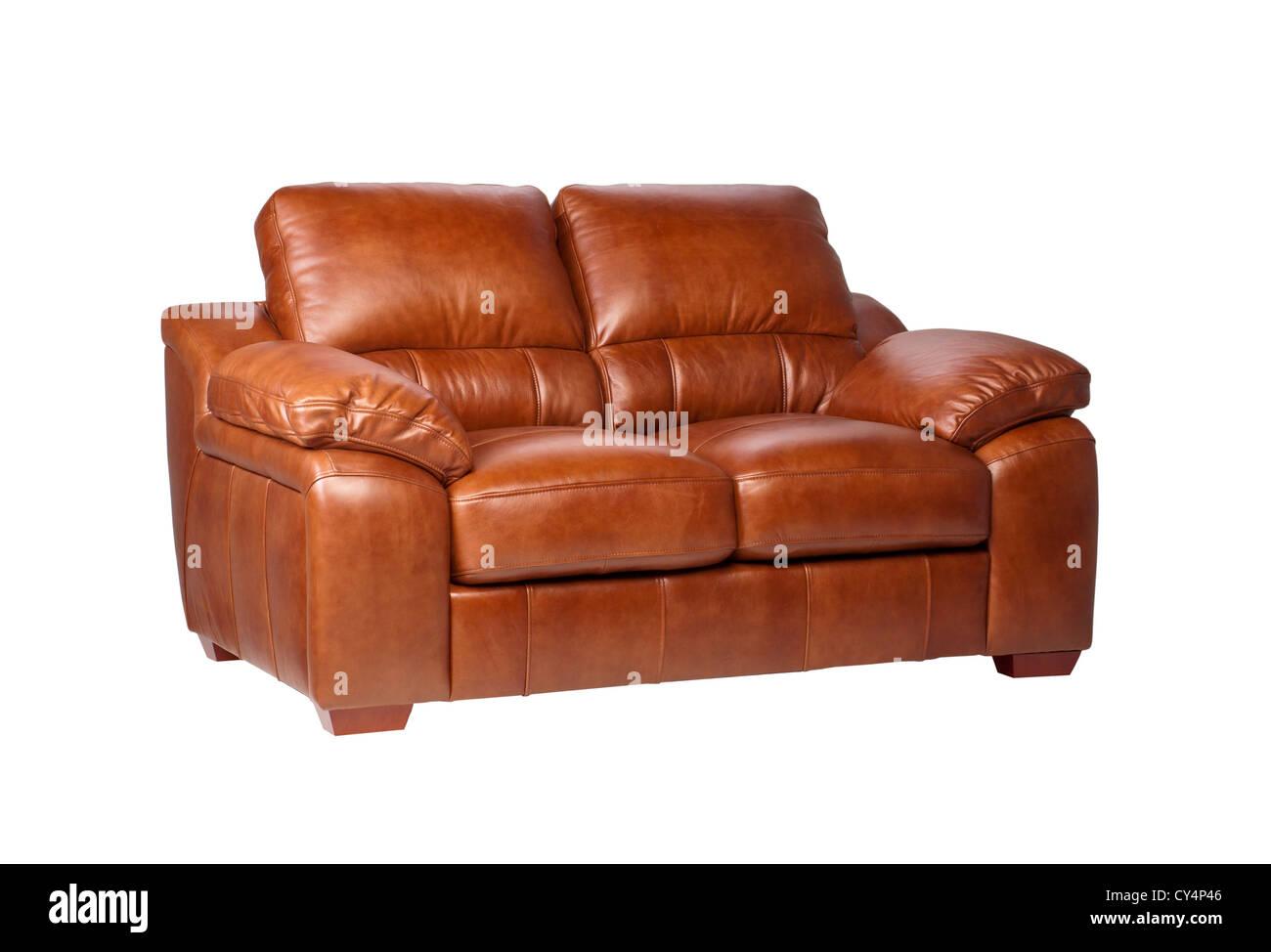 Beau canapé en cuir marron de luxe et les grands meubles en cuir Photo Stock