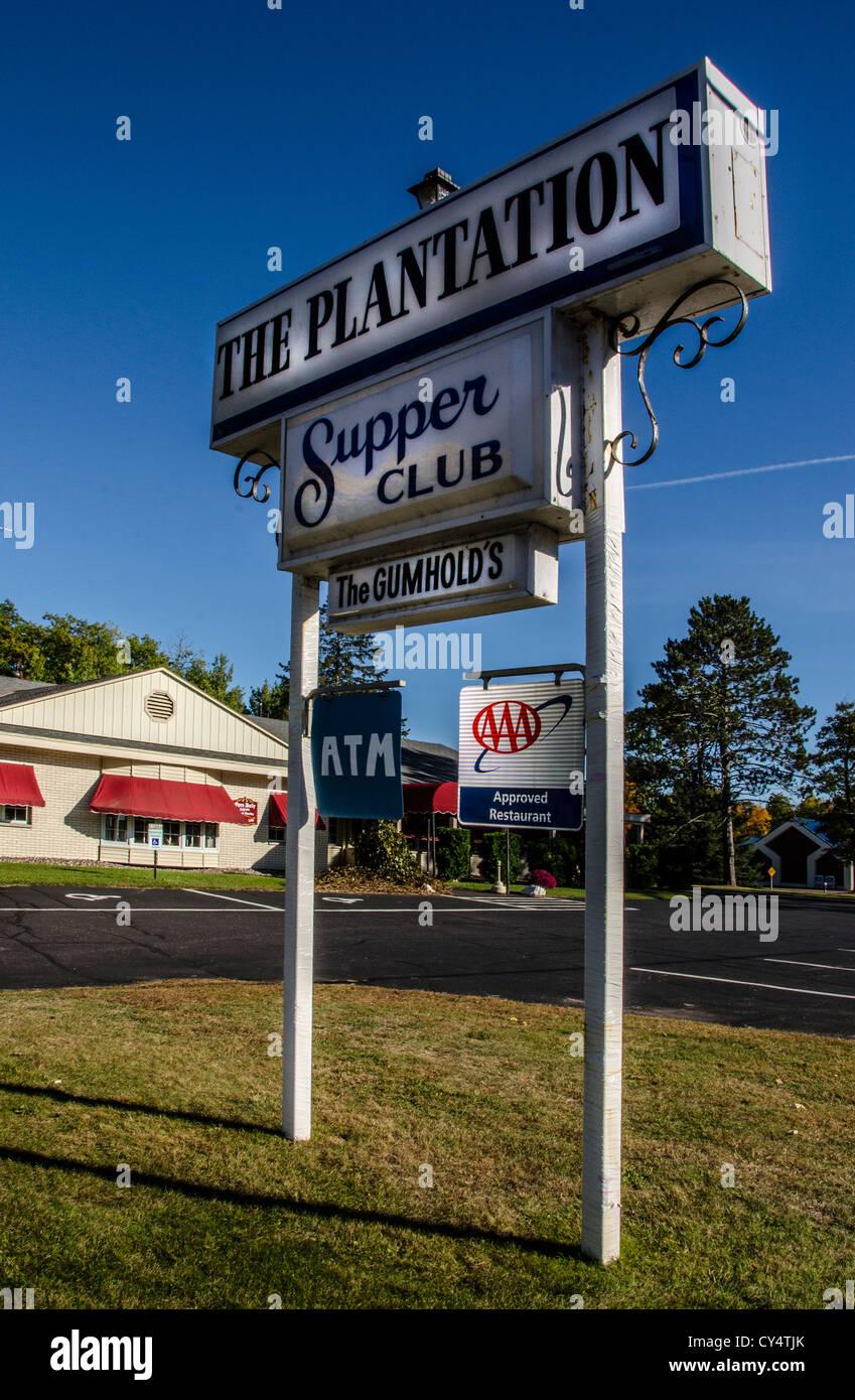 Le Plantation Club Dîner à l'Arbor Vitae dans la région de Northwoods du Wisconsin. Photo Stock