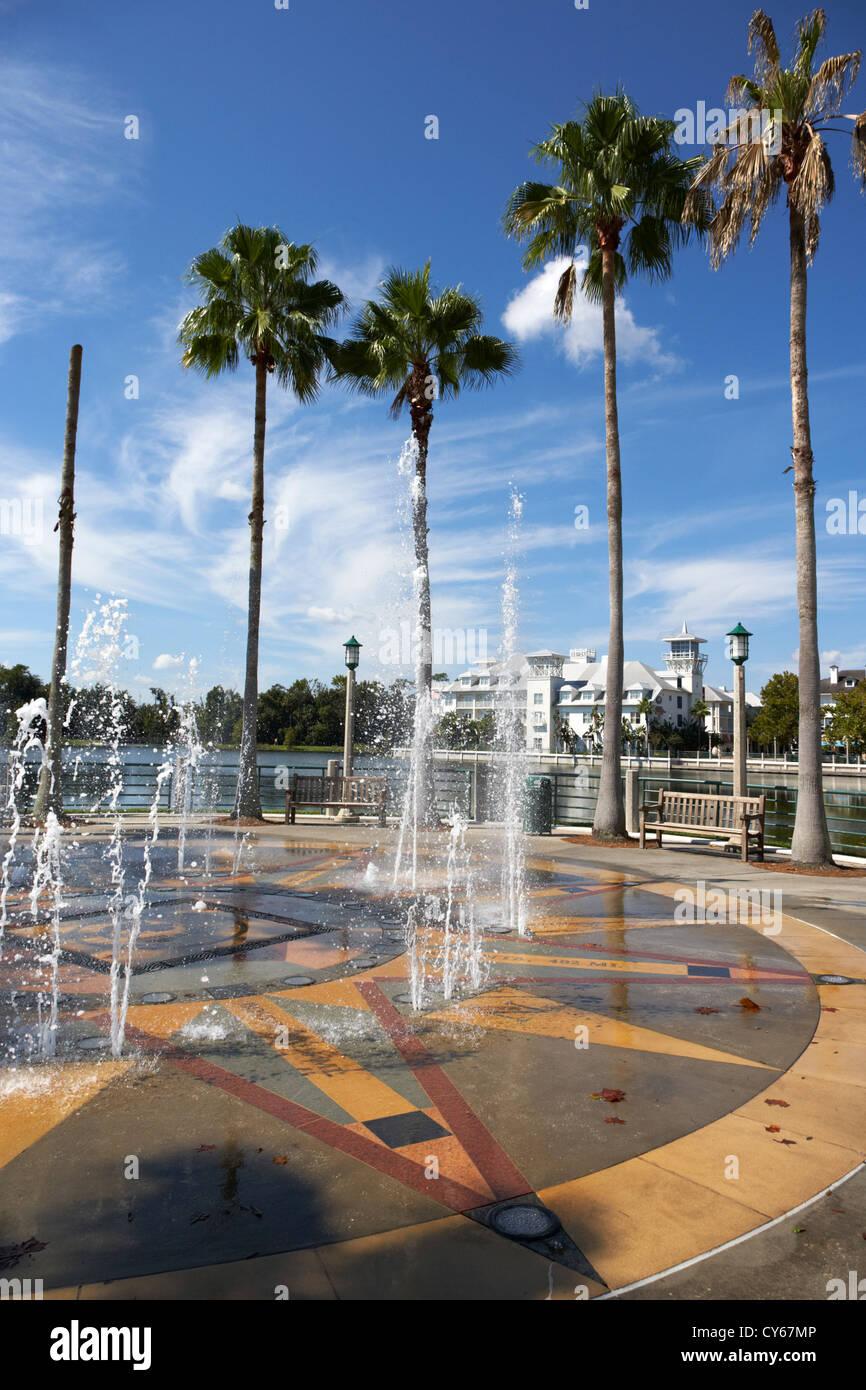 Fontaines à Lakeside Park centre-ville de Celebration en Floride usa Photo Stock