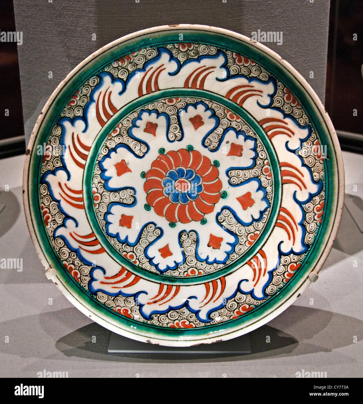 Stonepaste Iznik plat Ottoman avec conception Kaléidoscope 1585 - 1590 stonepaste Iznik Turquie plaque dindes Photo Stock