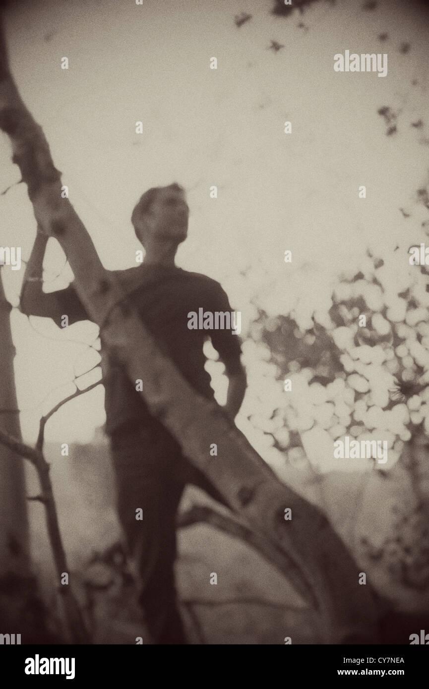 Sépia floues silhouette d'un homme dans la forêt. Photo Stock