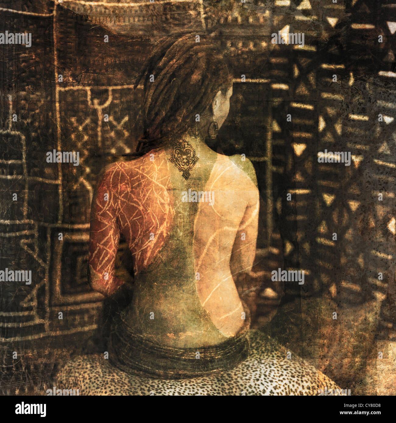 Figure féminine avec marquage du corps de page. Photo Stock