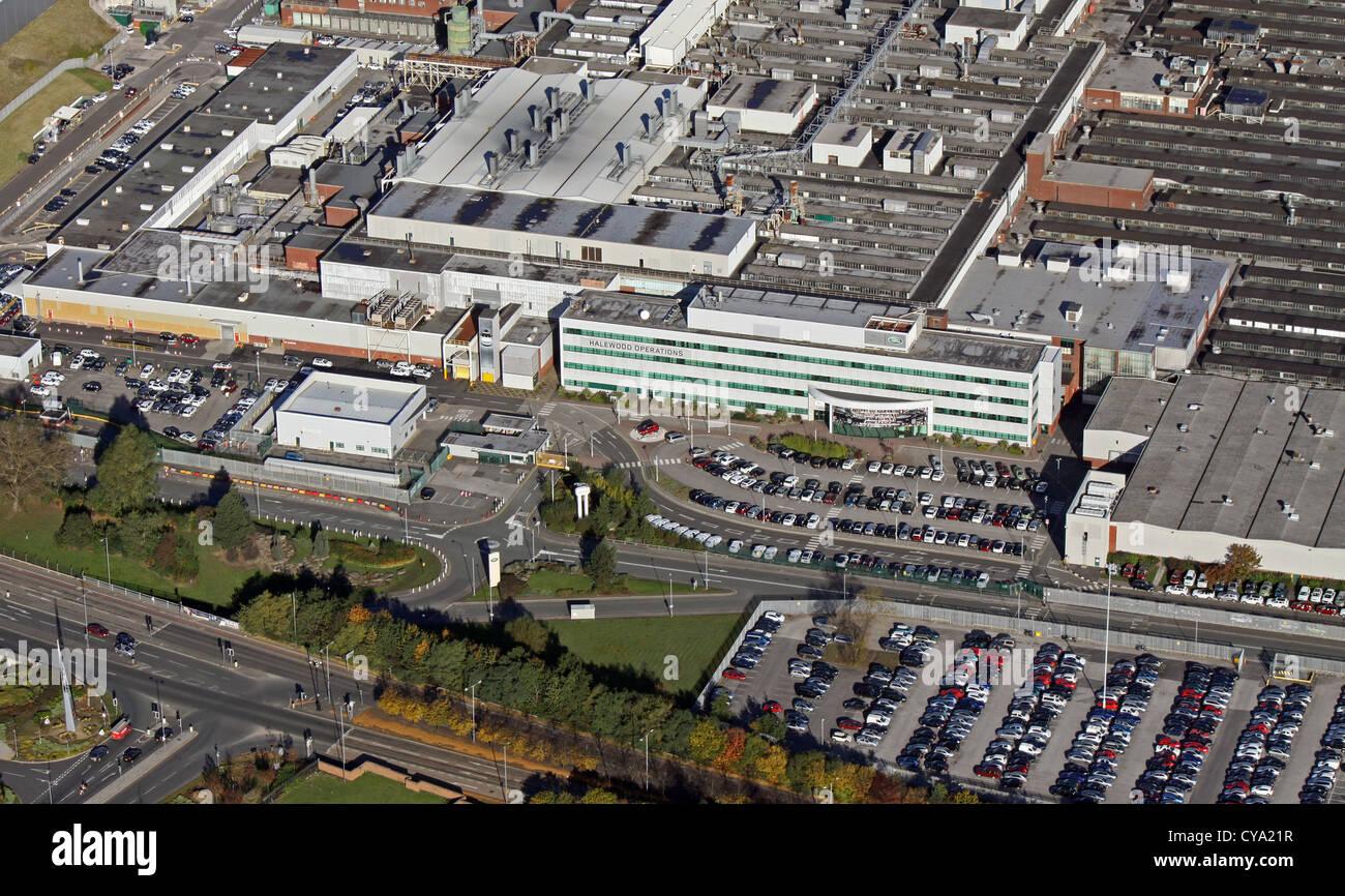Vue aérienne de l'usine de voiture Jaguar Halewood à Speke, Liverpool Photo Stock