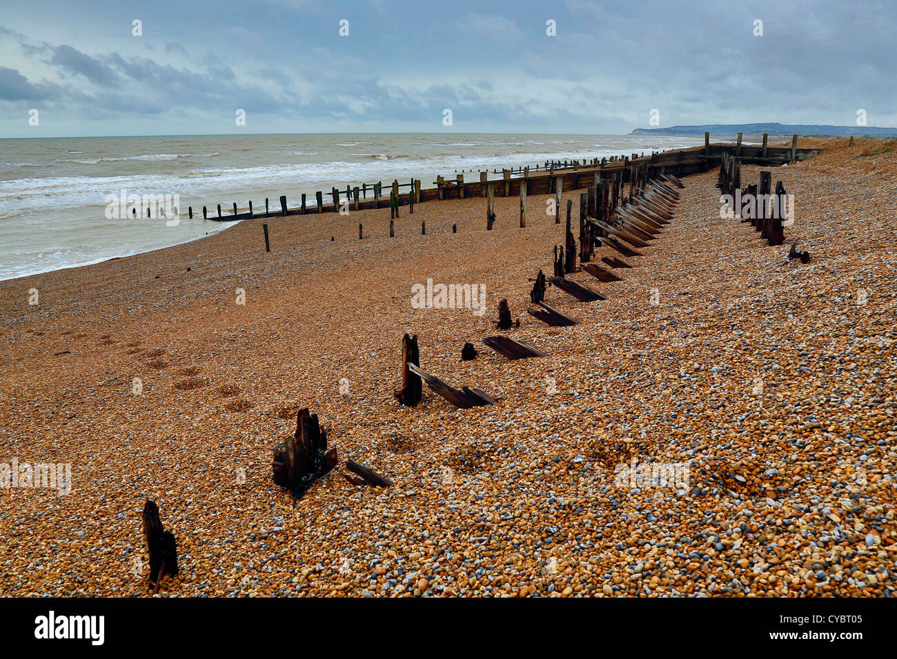Le seigle ; plage ; East Sussex, UK Photo Stock