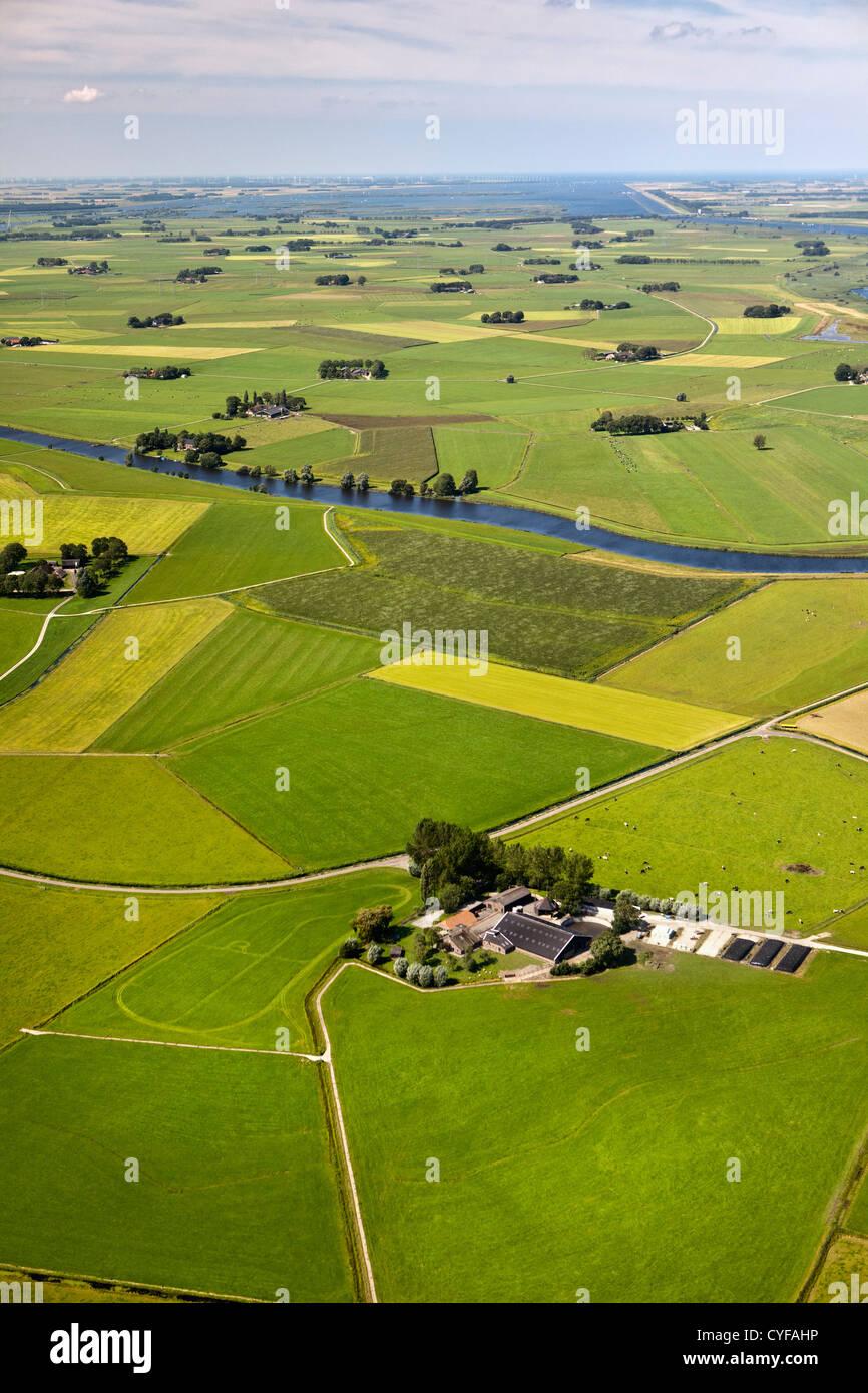 Les Pays-Bas, Skopje, de fermes et de terres agricoles. Vue aérienne. Photo Stock