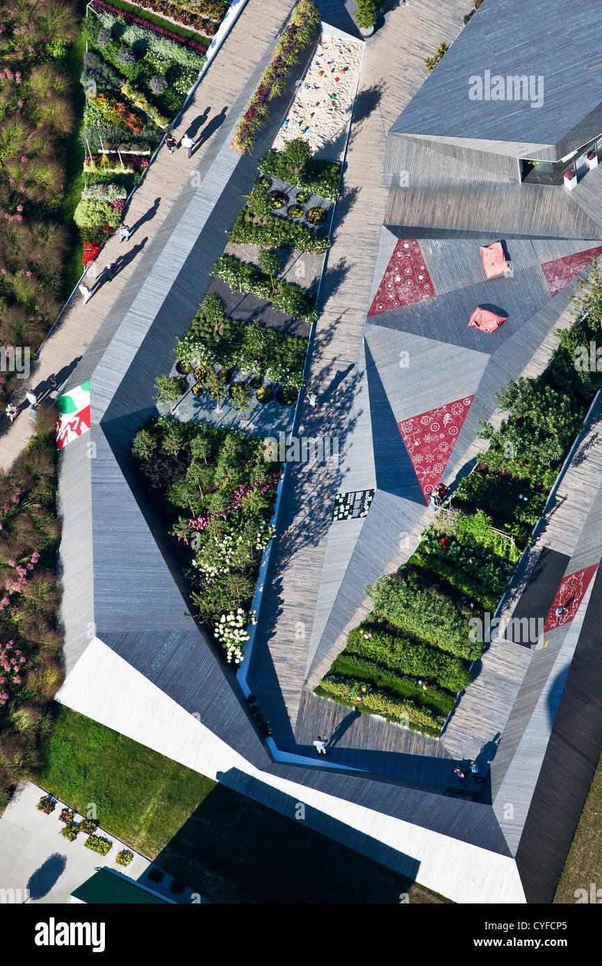 Les Pays-Bas, Venlo, FLORIADE, le monde Horticultural Expo 2012, Pavillon du Gouvernement allemand. Photo Stock