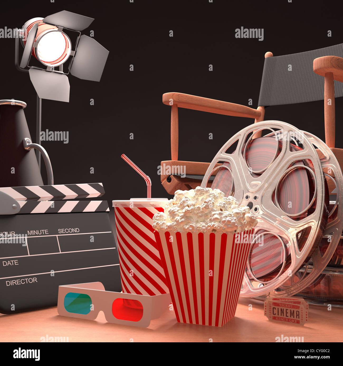 Les objets de l'industrie du film, le concept du cinéma. Photo Stock