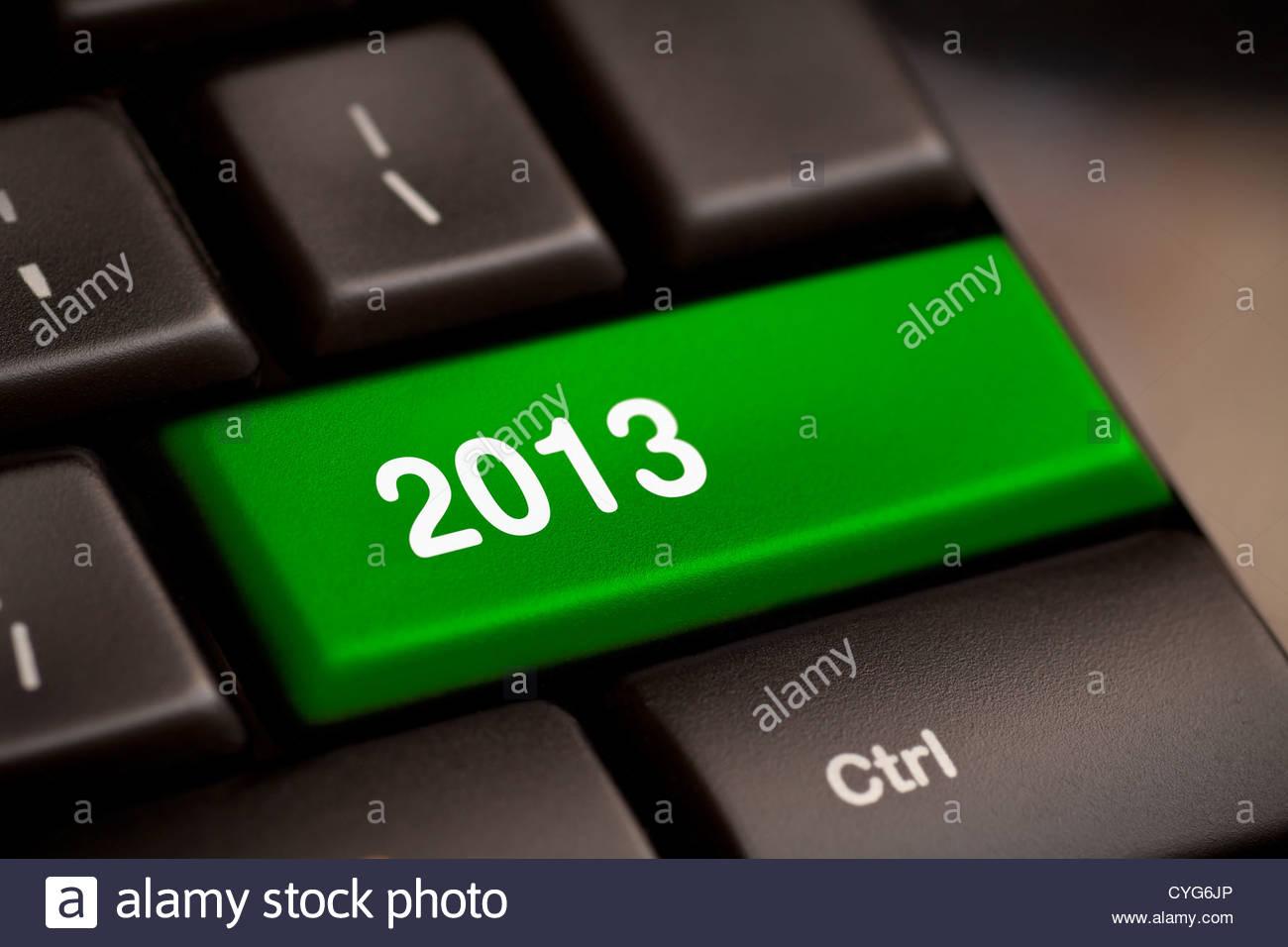 2013 touche au clavier. Nouvelle année. Photo Stock